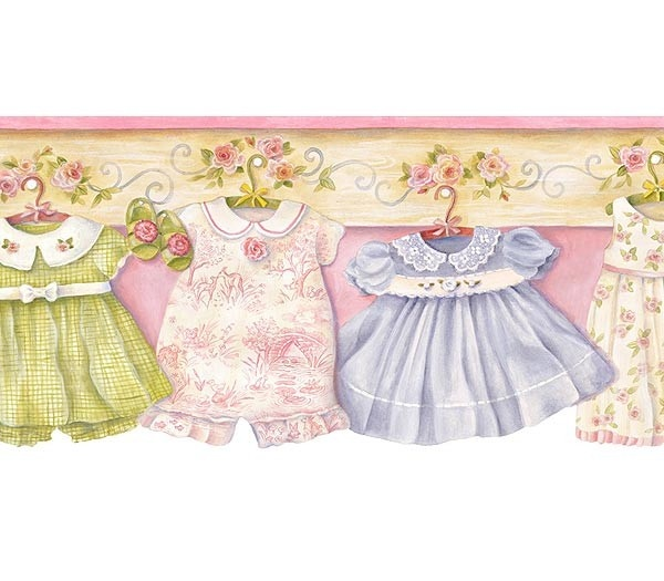 Interior Place - Pink Baby Dresses and Roses Wallpaper Border, $15.95 (http://www.interiorplace.com/pink-baby-dresses-and-roses-wallpaper-border/)