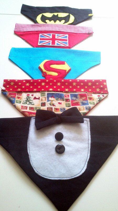 Themed doggy bandanas by Birdyheartsbuttons on Etsy, £6.00