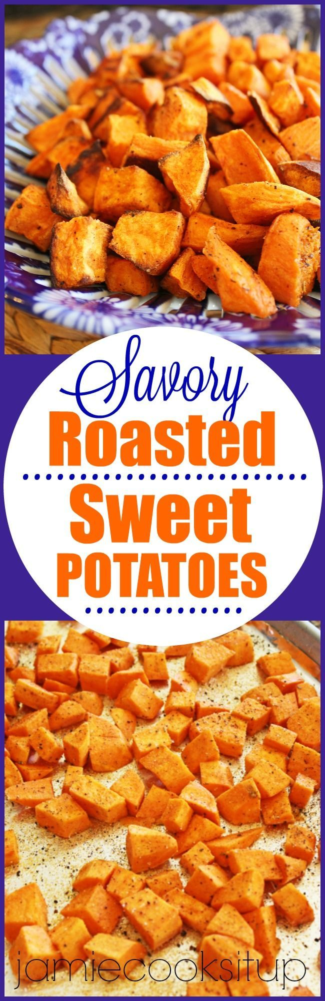 Savory Roasted Sweet Potatoes from Jamie Cooks It Up! These have a heavenly flavor and texture that is out of this worlds. Make them as a healthy side dish for breakfast, lunch or dinner.