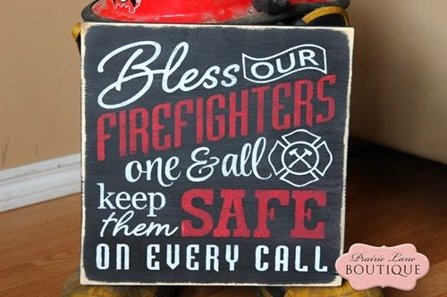 12 x 12 wood sign, Bless our FIREFIGHTERS-firefighter, firemans prayer, firefighter wife, bless our firefighters, keep them safe, red, 12 x 12, wood sign, primitive, weddings, wedding gift, fireman groom