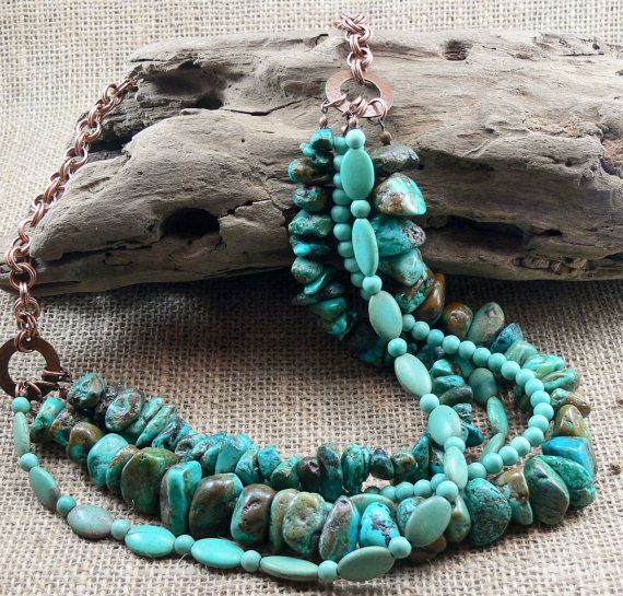 Turquoise Statement Necklace  Chunky Boho by MMDJewellery on Etsy