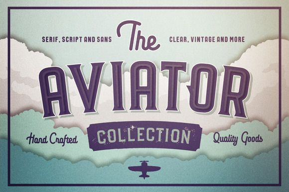 The Aviator Font Collection by Vintage Voyage Design Co. on @creativemarket