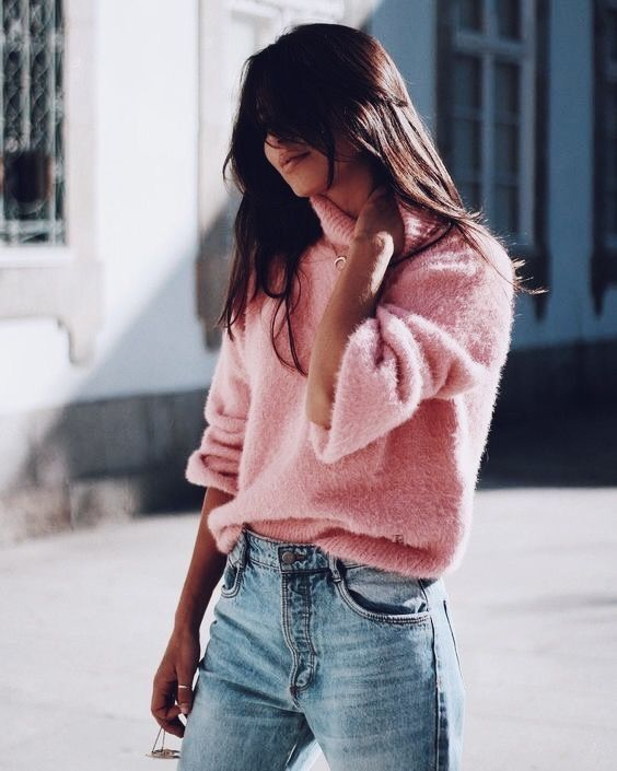 fc29c234584 Cozy and comfy oversized pink sweater with blue jeans.