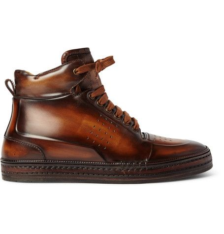 Berluti Playtime Burnished-Leather High-Top Sneakers | MR PORTER