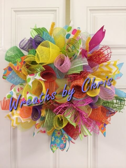 Odds and ends of deco mesh and ribbon make a bright summer wreath!