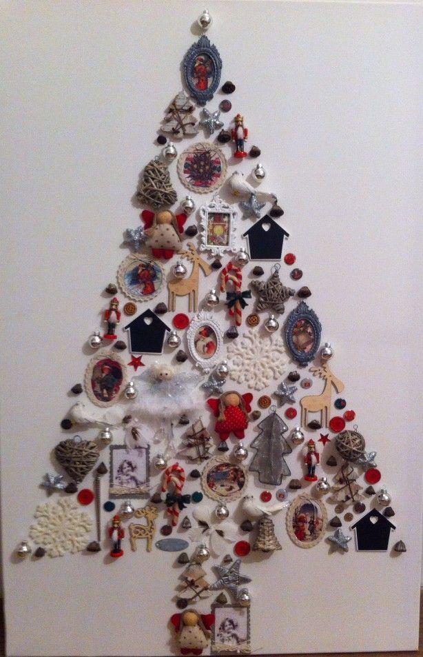 kerstboom op canvas eigen creatie