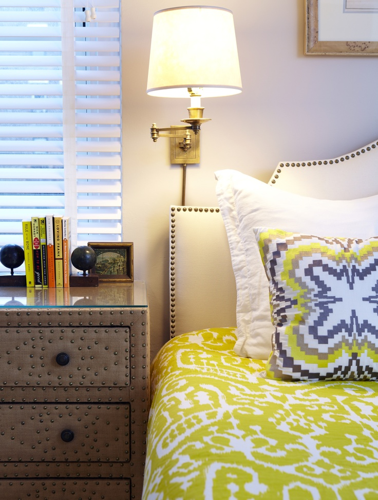Sunny Yellow And Muted Blues Are Used In The Master Bedroom With Leather  Dressers With Nailhead Details That Serve As Bedside Tables. By Chango U0026 Co.