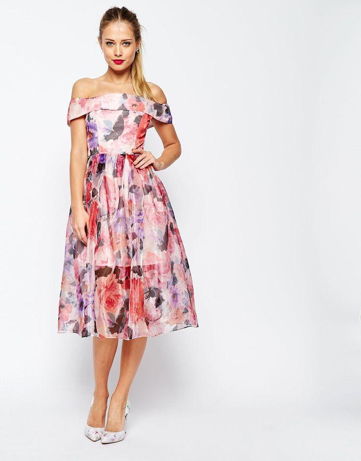 Image 1 ofASOS SALON Floral Organza Off The Shoulder Bardot Midi Prom Dress