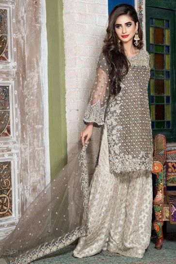 43a3a5faa9 Sha Posh Embroidered Grey Ready to Wear Net 3pcs Suit With Net Dupatta