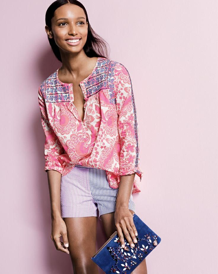 """J.Crew pink floral embroidered top, 3"""" colorblock seersucker shorts, jeweled suede clutch. Waiting for this top to go on sale."""