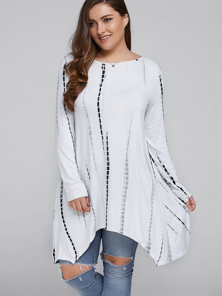 Plus Size Cut Out Comfy Asymmetrical Blouse in White | Sammydress.com