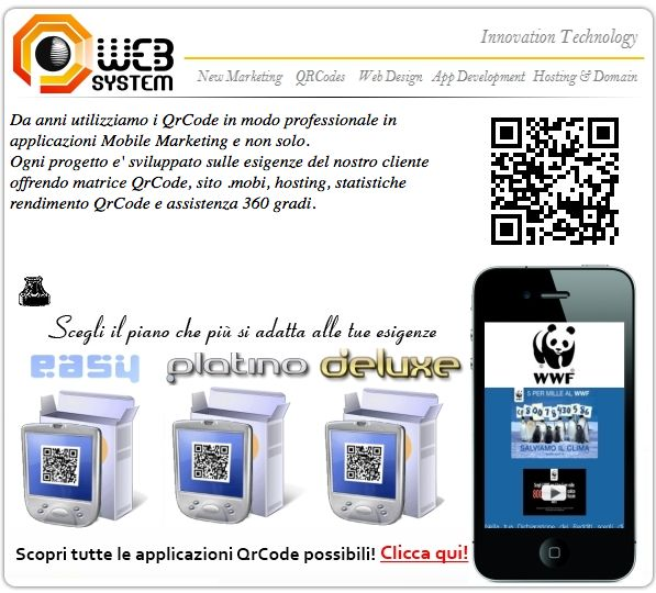 From a lot of years we use QRCode, in professionally way in Mobile Marketing applications and more.  Each project is developed on the needs of our customers by offering matrix QRCode, web site .mobi, hosting, QrCode ROI statistics and service 360 degrees.   http://qr-codes.it