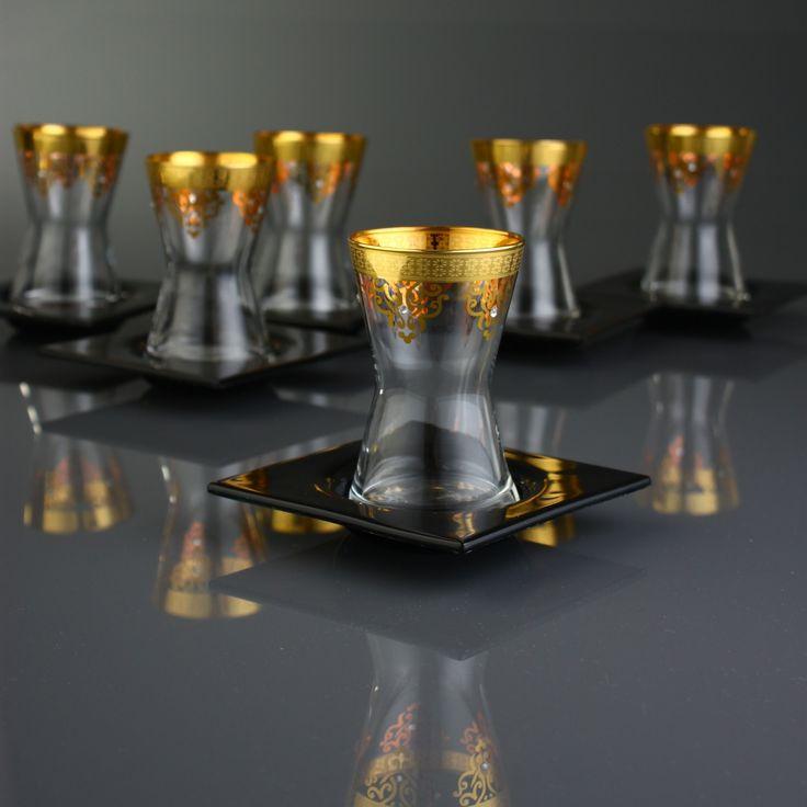 12 PEÇAS CONJUNTO DE COPOS DE VIDRO / Ottoman Ouro-Jogo de chá - Produtos Importados da Turquia - Loja VirtualProdutos Importados da Turquia – Loja Virtual