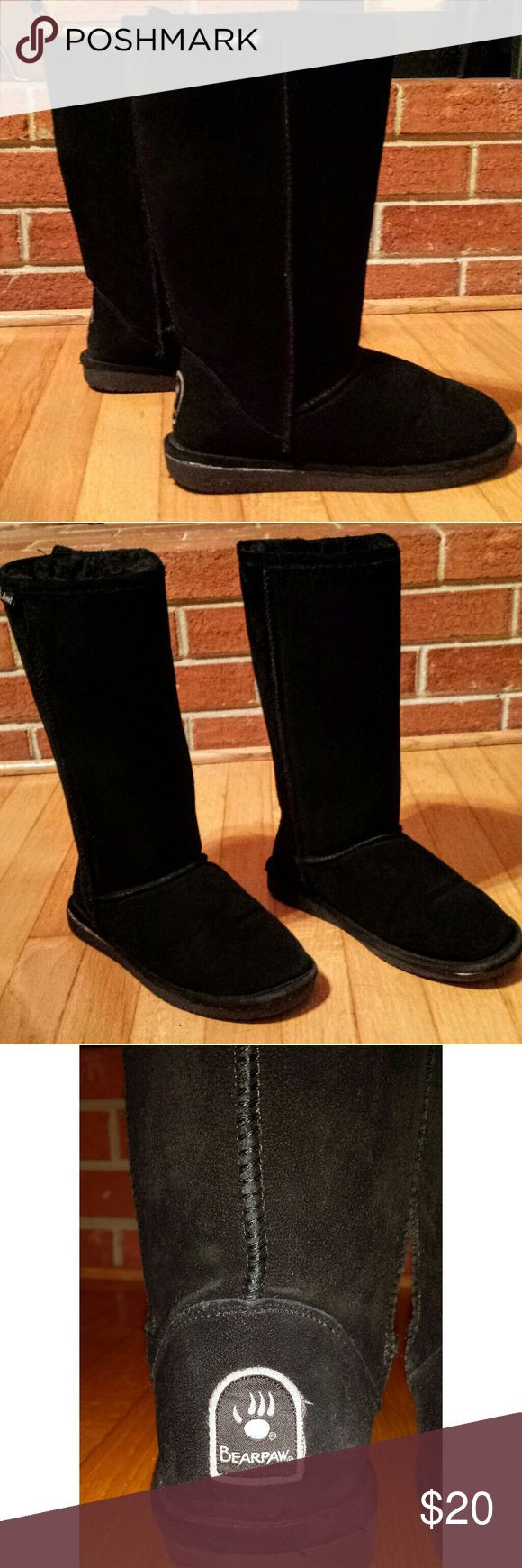 Black BearPaw High Top Boots Black - Emma Tall BearPaw boots. Great condition - fur is also in great condition. BearPaw Shoes Winter & Rain Boots