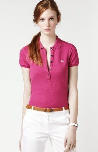Lacoste Women`s Short Sleeve 5 Button Stretch Pique Polo Pink, Size 8- PF269E for only $89.50 You save: $10.50 (10%)