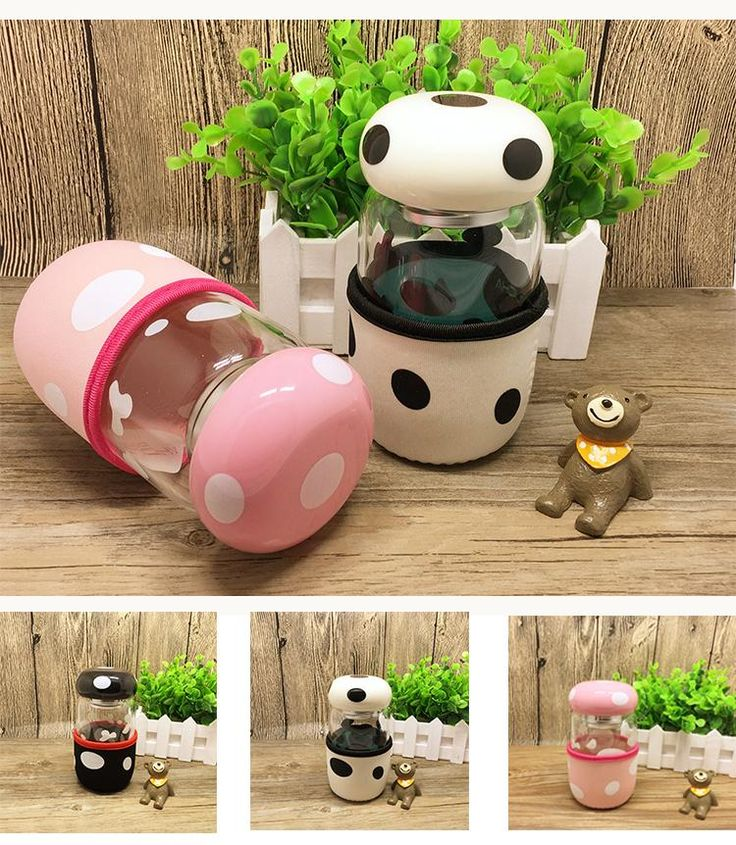 Creative Mushroom Water Glass Bottle 300ml Portable Cup With Lid And Tea Infuser And Cup Cover For Students Or Girls Boys And Lovers Water Bottles Big Water Bottles Bpa From Electronics_apple, $8.1| Dhgate.Com