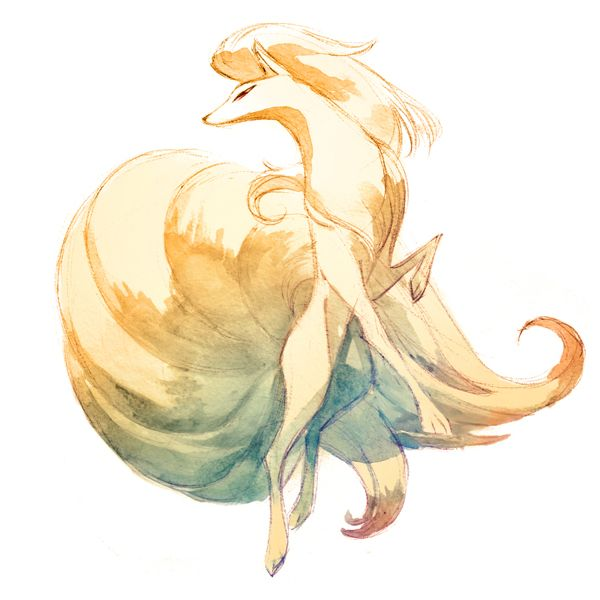 This is a marvellous Ninetales, colourfully portrayed by Nicholas Kole in his set Watercolor Pokemon!