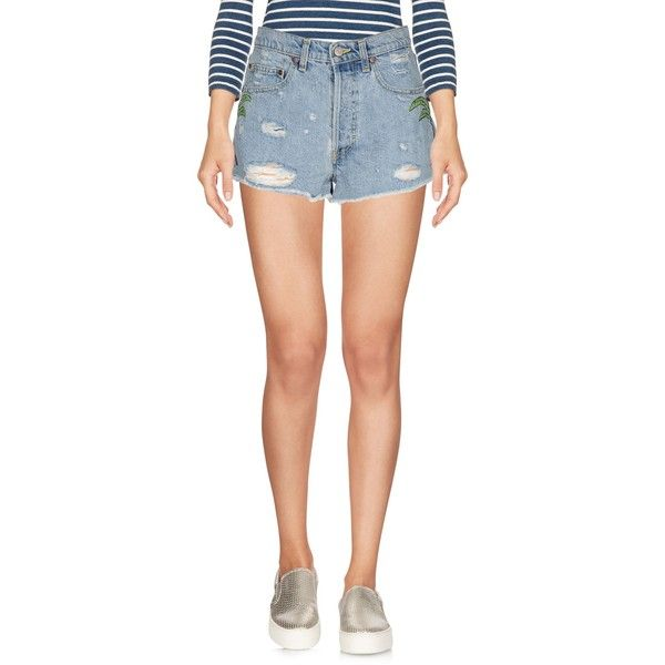 Htc Denim Shorts ($200) ❤ liked on Polyvore featuring shorts, blue, high-waisted jean shorts, destroyed denim shorts, blue jean shorts, ripped jean shorts and high-waisted shorts