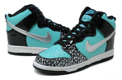 High Tops For Girls | SB Dunk Girls Nike High Tops Shoes Tiffany Custom Black Metallic ...