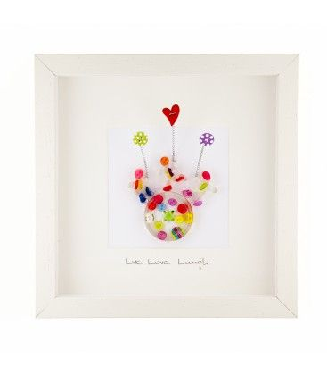Live Love Laugh. Button Studio. Medium Framed Picture