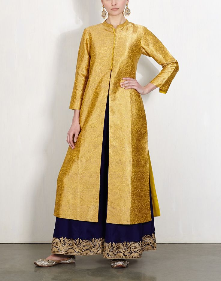 Yellow Brocade Kurta With Embroidered Pants-Lajjoo C