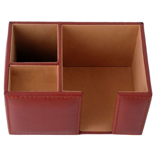 Genuine Leather Office Desk Organizer Paper Clip Holder