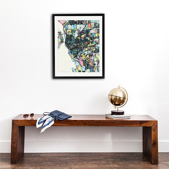"""Abstract map print of Buffalo NY. Shown as a framed 30x38"""" print with a 2"""" mat for $590. Other sizes & options are available."""