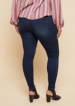 471fbabcdfe Plus Dark Wash Mid Rise Nicked Booty Jeans