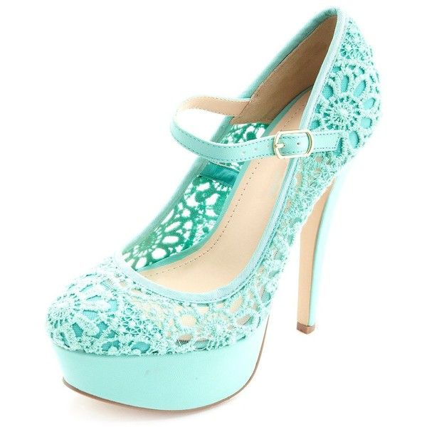 Charlotte Russe Crochet Lace Mary Jane Platform Pumps ($15) ❤ liked on Polyvore featuring shoes, pumps, heels, sapatos, mint, platform mary janes, platform stiletto pumps, mary jane platform pumps, stiletto heel pumps and high heels stilettos