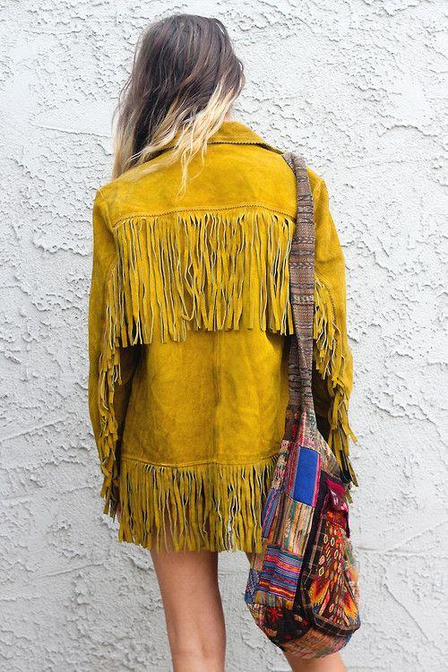 Boho fringed suede coat