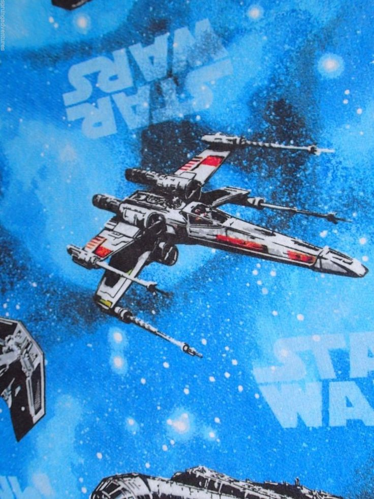 Star Wars Twin Flat Fitted Bed Sheets Blue X-Wing TIE Fighter Melenium Falcon #LucasFilms