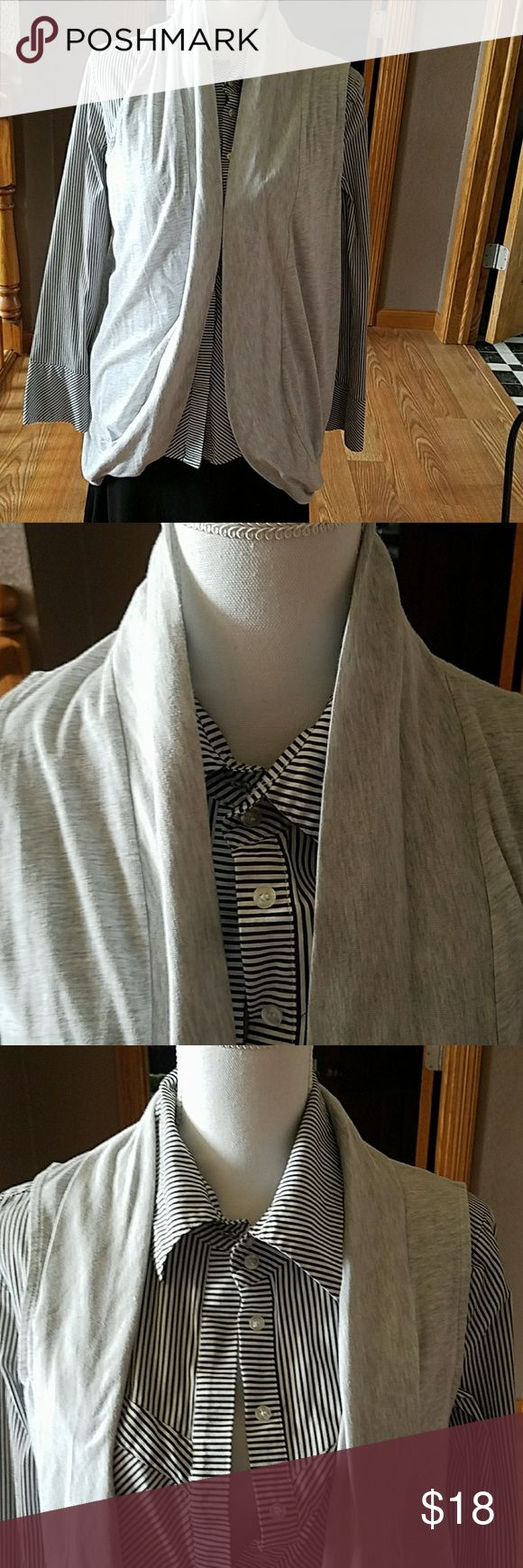 """Ruff Hewn sleeveless cardigan sz L This gray sleeveless cardigan is in excellent condition, great length of 29"""". Neckline can be worn high or folded, great staple for your closet Ruff Hewn Tops"""