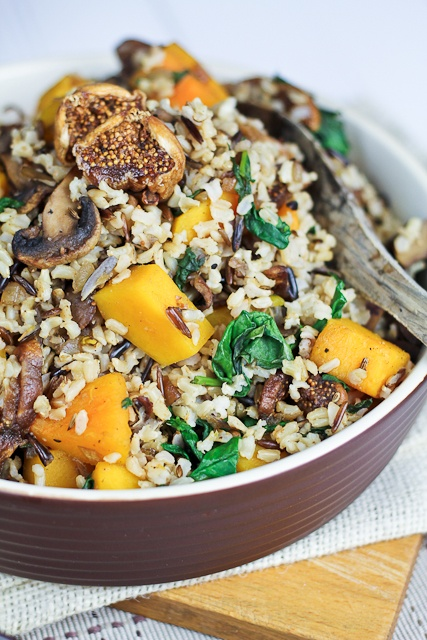 Brown Rice with Squash Spinach and Figs   By Sonia! The Healthy Foodie