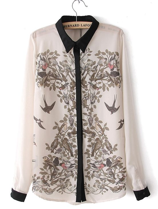Beige Long Sleeve Birds Print Chiffon Blouse US$23.55