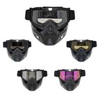 Detachable Motorcycle Goggles pin ball protector Glasses Mask Visor Ski Snowboard Motocross Oculos Gafas for Open Face Motorcycle Half Helmet