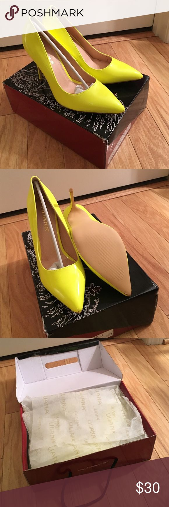 LILIANA 👠 Neon Pump (NEW) Never Worn Liliana Neon Pumps |Size 7.5| Fits True to Size| Neon Yellow | Patent Leather| Box Included Liliana Shoes Heels
