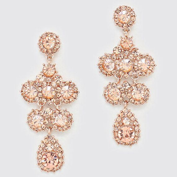 Rose Gold Prom Silvers: Crystal Chandelier Bridal Earrings