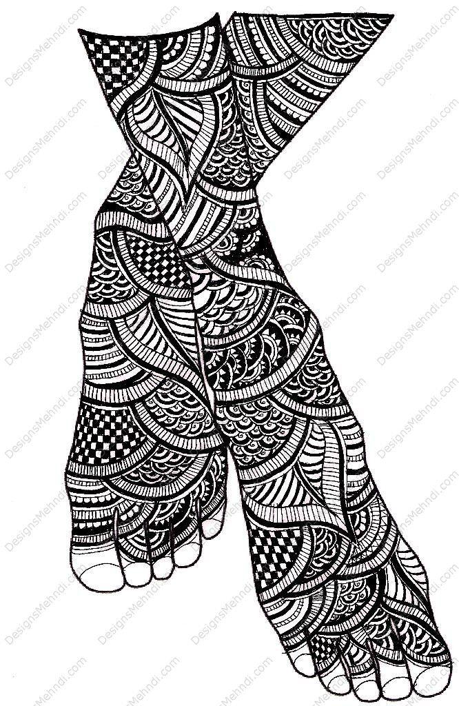 foot henna. illustration