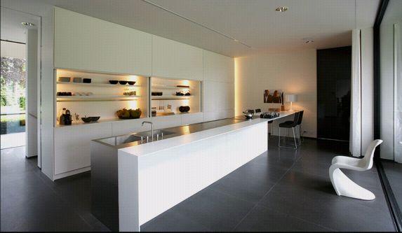 White granite and steel kitchen worktop.