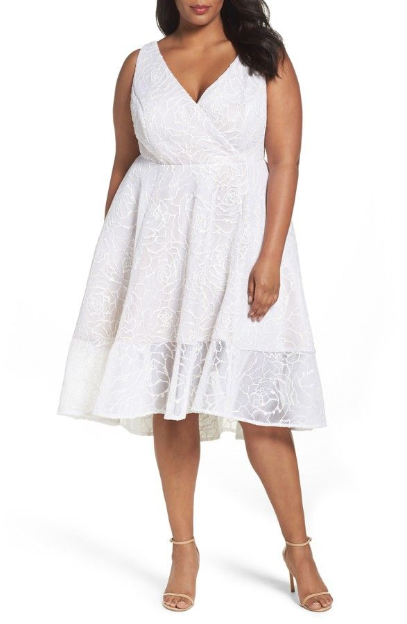 Adrianna Papell Bonded Mesh High Low Dress Plus Size White Bridal Shower Engagement Party Rehearsal Dinner Short Wedding