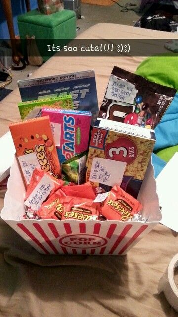 Boyfriend Christmas gift idea! :) a gift basket full of candy and add cute sayings on the box! He will love you! :)