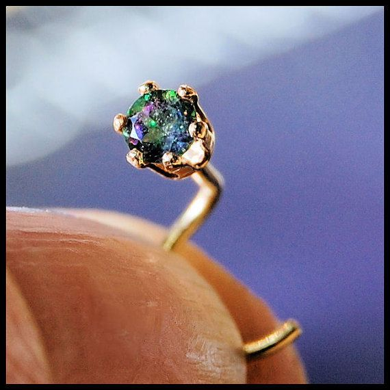 NEW ITEM - Nose Stud Mystic Topaz and Yellow Gold Fill Claw Set - CUSTOMIZE on Etsy, $22.95 AUD