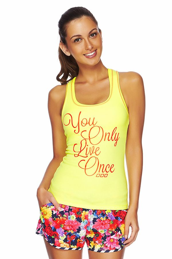 You Only Live Once Tank available at Lorna Jane Marina Mirage.
