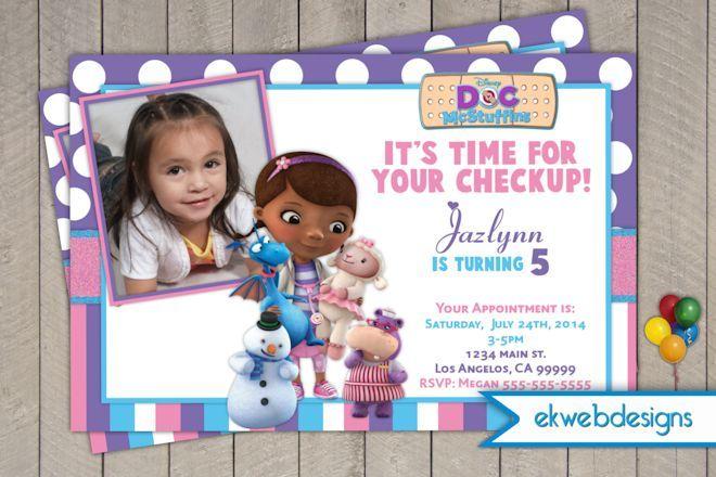 Doc Mcstuffins Birthday Invitations- Doctor Mcstuffins