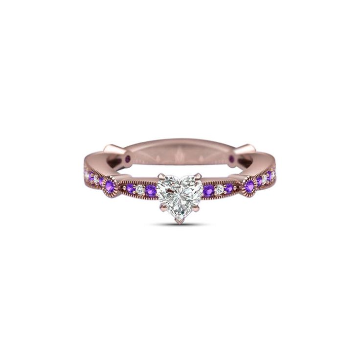 New 14K Rose GP 925 Silver Heart Shape Sim. Diamond Solitaire with Accents Ring #br925 #SolitairewithAccents