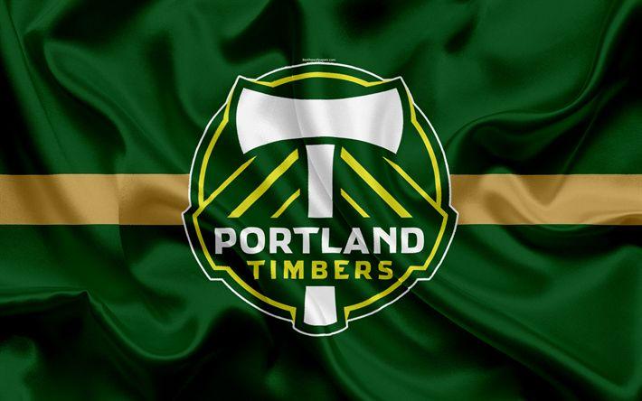 Download wallpapers Portland Timbers FC, American Football Club, MLS, Major League Soccer, emblem, logo, silk flag, Portland, Oregon, USA, football