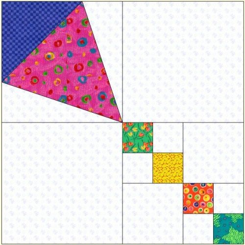 """Uncommon Threads Quilt Guild- Kites Block of the Month March 2006. Here's an easy kite block I drew in EQ, for the breezy month of March. Paper piece body of kite or appliqué and make your own design of kite, 12 1/2"""" square, unfinished. No EQ5 than draw the kite. With a variety of fabrics you can make a nice scrappy quilt or wall hanging for any age."""
