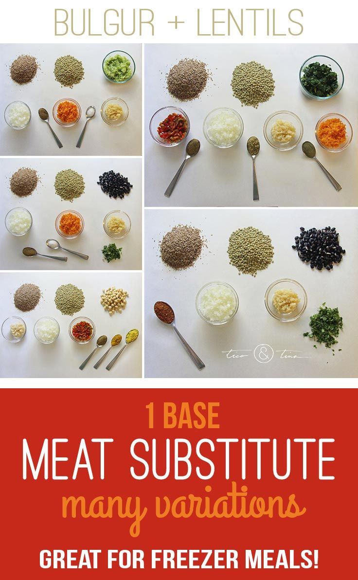 A bulgur/lentil mix that makes a VERY inexpensive and versatile vegan meat substitute (no eggs!) for lots of healthy recipes. It is also excellent for freezer meals! | healthy recipe | fall recipe