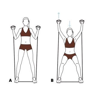 Move 3: Squat With Overhead Press (A) Stand in the middle of the band with feet parallel and shoulder-width apart. Hold handles at shoulder height, with palms facing away from you and elbows bent. (B) Squat deeply while pressing your arms directly over your head. Keep your weight on your heels and resist the band as you return to standing position. Repeat 20 times.