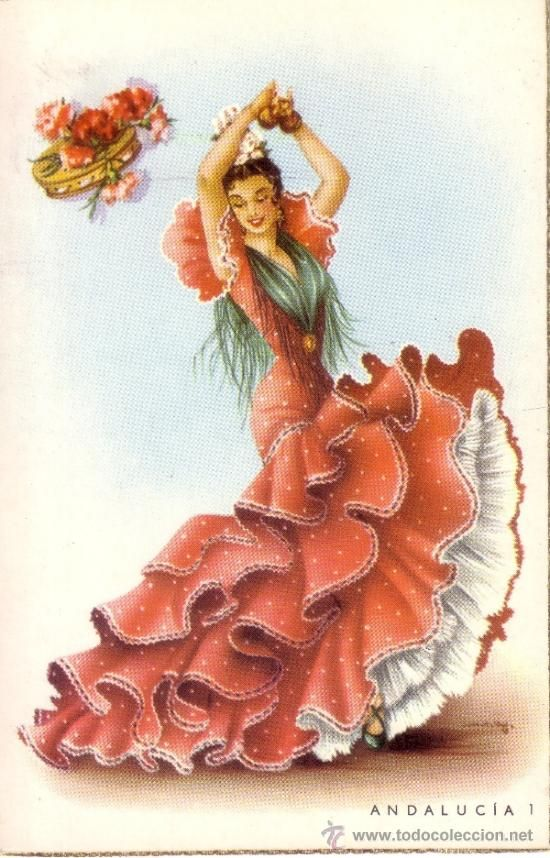 postal con dibujo de una flamenca - Comprar Dibujos y Caricaturas en todocoleccion - 34102393 www.todocoleccion.net